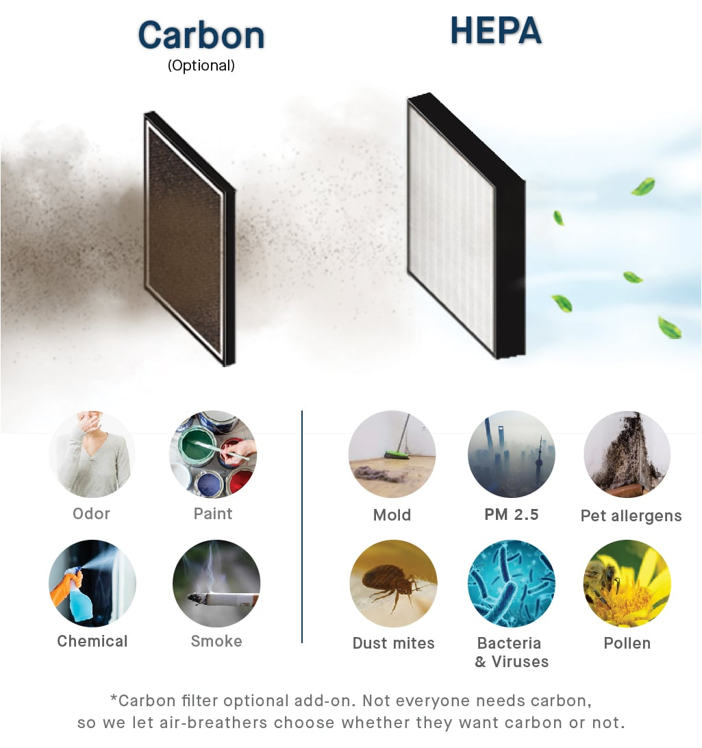 Comparison of Sqair Hepa and Carbon filters